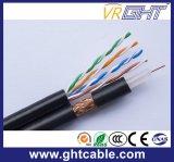 Câble coaxial de liaison des Muti-Medias RG6 avec le câble du réseau 4p UTP Cat5e
