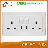 Blanco PC Rj11 Wall Socket Toma de corriente eléctrica del teléfono