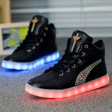 2016 de la dernière mode de haute qualité pour adultes Ladly Casual High Top LED Shoes