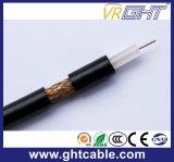 1.02mmcu, 4.8mmpe, 96*0.12mmalmg, OD : câble coaxial de liaison noir de PVC de 6.8mm (RG6)