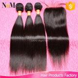 Brasilianisches gerades Haar mit dem Menschenhaar des Schliessen-3PCS mit Schliessen-dem preiswerten unverarbeiteten brasilianischen Jungfrau-Haar gerade mit Schliessen