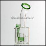 Nuevas 10 pulgadas de Toro de tubo de agua de cristal con dos Perc en la talla común de 14.4m m para fumar