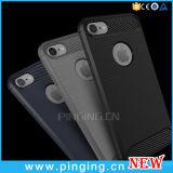 Shockproof Kohlenstoff-Faser-Mobiltelefon-Silikon-Kasten für das iPhone 7/6 Plus