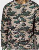OEMの偶然のカムフラージュのPrinteポリエステルメンズ方法スエットシャツ