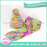 Lenço longo acrílico tecido do Crochet do algodão forma colorida