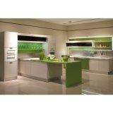 De moderne Groene en Witte Houten Modulaire Keukenkasten van de Lak