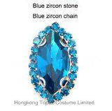 Klauw die van de Manier van de Bergkristallen van de versiering de Zoete Nieuwe Rhinstone voor Halsbanden (sW-Boot 9*18 blauwe zircon) plaatsen