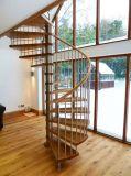 Scala a spirale di legno alla moda con la balaustra