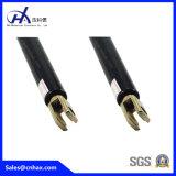 Puntal bloqueable negro de acero de la compresión de la carga grande del peso que bloquea los choques del resorte de gas para el equipamiento médico con el microteléfono con el conector de la U-Dimensión de una variable