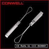 Braçadeira de tensão elétrica do cabo da fibra óptica da tensão de aço da gota