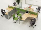 حديثة ألومنيوم زجاجيّة خشبيّة حجيرة مركز عمل /Office حاجز ([نس-نو142])