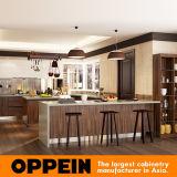 Gabinetes de cozinha de madeira escuros modernos do MDF da U-Forma do PVC da grão de Oppein (OP16-PVC06)