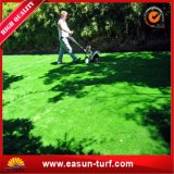 Ajardinando a grama sintética do relvado e o gramado artificial das plantas