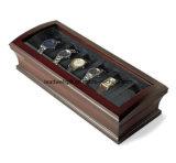 Exemplo de Brown do organizador da jóia da caixa de relógio da alta qualidade com os 12 descansos Lockable (LW-JB0330)