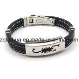 Punk Mann-Silikon-Armband, Silber Glasur Edelstahl-Armband (SWTJU636)