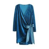 Mode féminine Pleuche Elegance V-Neck Bowknot Bandage Clothes Blouse