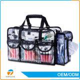 Sac à cosmétiques transparent en PVC à fermeture élastique Sac à cosmétiques en PVC transparent avec sangle d'épaule