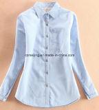 Blaue Verdickung-Frauen-Hemd-Bluse
