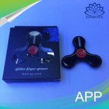 Girador da inquietação do brinquedo do girador da mão do dedo do controle do APP da luz do flash do rolamento de esferas com Bluetooth