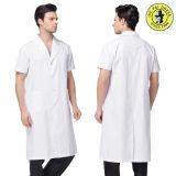 Uniforme médico del hospital del laboratorio de la fábrica del algodón blanco unisex de moda de la capa