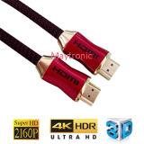 Gold überzog mit Ethernet 3D 1.4/2.0 4k 60 Hz HDMI Kabel-