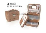 La caja de joyería de cuero marrón lagarto estilo PU