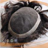 Связанный рукой Toupee части волос цвета полных человеческих волос граници края PU шнурка Enclosed естественный
