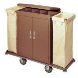 Trolley de aço inoxidável com tampa e porta fecháveis