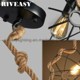 Lampe pendante s'arrêtante créatrice d'éclairage de corde d'intérieur à la maison de chanvre