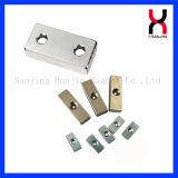 Imán modificado para requisitos particulares N52 de Neodynium de la talla de N48 N50 con los orificios del tornillo