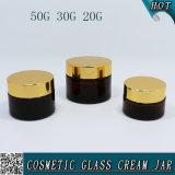 vasi di muratore cosmetici di vetro ambrati del contenitore di 20ml 30ml 50ml con la protezione dell'oro