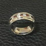Ring de Van uitstekende kwaliteit van het Titanium van de Stenen van de Granaat van de Juwelen van Shineme (TR1921)