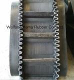 Heißer Verkaufs-Gummiförderband mit Bügelen und Fußleiste für den Export