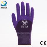 gants de travail enduits par mousse de latex d'interpréteur de commandes interactif du polyester 13G