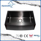 Bassin de cuisine fabriqué à la main simple d'acier inoxydable de cuvette de couleur noire (ACS3021A1-B)