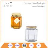 vasi esagonali di vetro del miele 350ml con la protezione dell'aletta