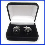 Caixa preta do botão de punho de veludo da alta qualidade para a jóia e os presentes