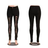 Schwarzer Dame-Verband Demin Jeans-Bleistift-dünne Hosen