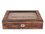Caixa de presente de madeira do indicador do armazenamento da jóia do anel do revestimento antigo do piano de Brown