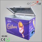 서쪽 디자인하십시오 깊은 상단 열려있는 유리제 문 가슴 냉장고 (SD-350)를