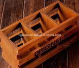 Rectángulo de madera modificado para requisitos particulares de gama alta para el solo almacenaje del vino de la botella
