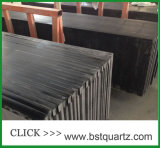 Чисто черный проектированный сляб камня кварца