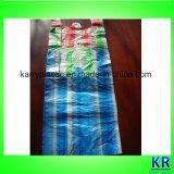 Borse dei sacchetti di immondizia della maniglia dei sacchetti di immondizia dell'HDPE con il blocco a strisce