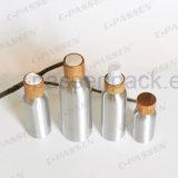 Bottiglia di alluminio cosmetica con con tappo a vite di bambù (PPC-ACB-064)