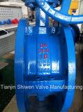 2 porciones de la carrocería PTFE del borde de válvula de mariposa revestida con el actuador del engranaje
