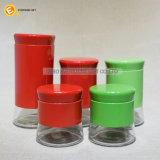 Il vaso della spezia di vetro rosso e verde ha impostato 5