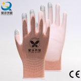 розовая перчатка работы безопасности Touch-Screen перста раковины нейлона 13gauge или полиэфира покрынная PU (PU2007)
