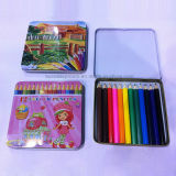 Crayons de couleur en bois 12PCS Set in Full Color Printing Box