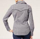 Chemise de femmes de chemise ajustée par coton de vérification de la mode de Ladie longue