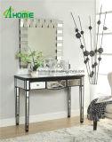 Vanity Design Negro Vidrio de Madera Espejo Mesa consola con forma Caved